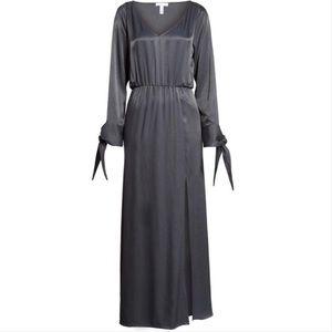 Leith Gray Split Sleeve High Slit Maxi Dress